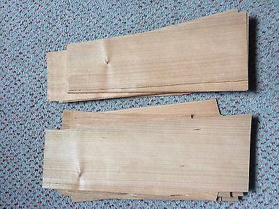 Cherry wood veneer offcuts, 35 sheets, various sizes, 0.5mm thick, wood repairs