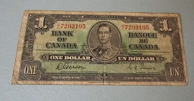 1937 Bank of Canada One Dollar Note BD7293195 Gordon Towers Signatures