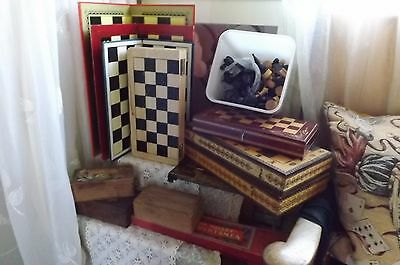 Large Job Lot Of Chess Pieces & Boards Vintage/modern For Parts (Some Complete)
