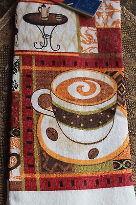 NEW COTTON COFFEE CUP CAFE BEANS KITCHEN  DISH TOWEL Ecru Orange Brown Red Green