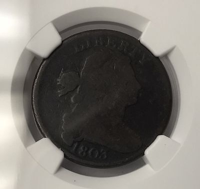 1803 Draped Bust Large One Cent Penny Coin - NGC Graded Good 4