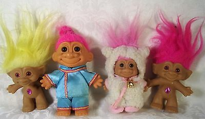 Vintage Troll Doll Lot Ace Russe Sheep-Lamb 4-Pc Lot Belly Jeweled Kids toy Doll