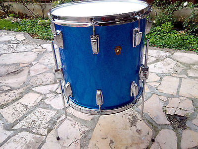 "LUDWIG FLOOR TOM/TIMPANO  14""x14""  BLUE SPARKLE 1960 VINTAGE drum set batteria"