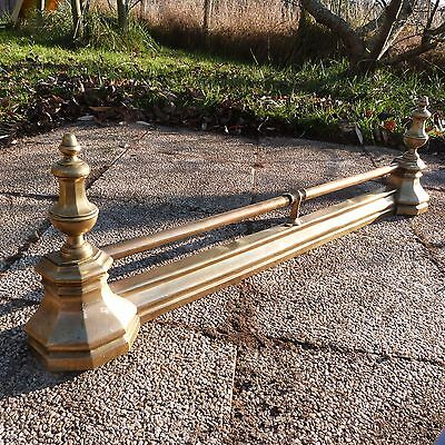 French Antique Long Ornate Brass Chenets Andirons Front of Fireplace