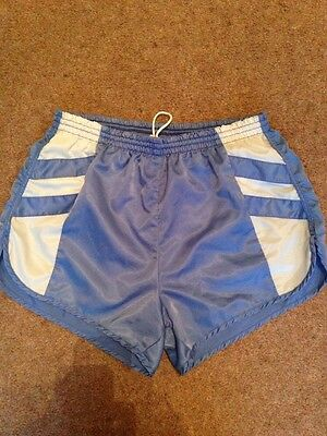 Vintage 80s Men's Unisex Polyester Nylon Shorts Short Sports S M Gay Blue