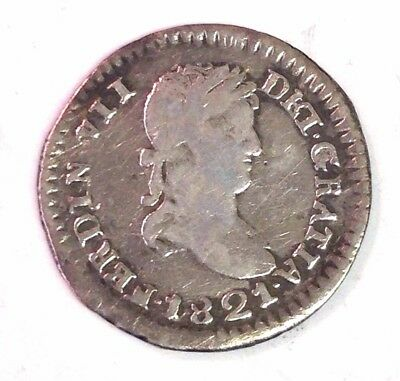 1821 Z-RG MEXICO 1/2 REAL, War of Independence royalist side, rare silver coin