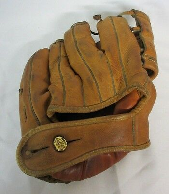 Vintage Antique 1940s Dubow Chicago Leather Baseball Glove 762 Willard Nixon RHT