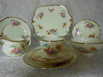Foley English Bone China Tea For Two Art Deco Pink Floral Bouquets