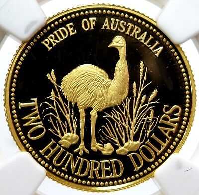 1991 Gold $200 Dollar Pride Of Australia Emu Coin Ngc Proof 69 Ultra Cameo