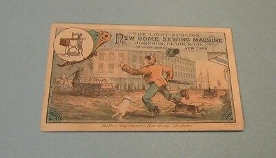 New Home Sewing Machine Victorian Trade Card Dogs Johnson Clark & Company NY