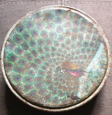 Antique Peacock English Biscuit Tin Storage Box Peek Frean & Co London