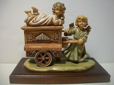 Vintage Fontanini Angel with Organ music box Hand Painted made in Italy Excellen