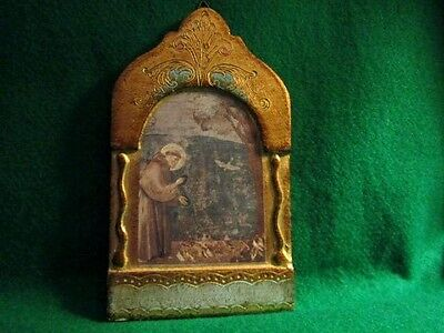 Religious Icon  St Francis of Assisi  Wood Gold Leaf Plaque