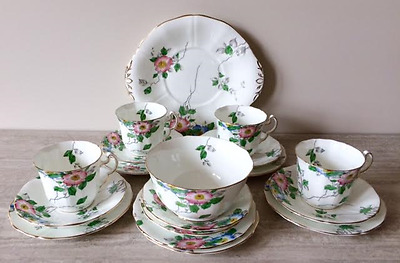 Vintage 1950's Adderley Bone China Tea Set – Dog Rose H155 Pattern