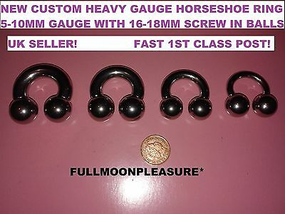 Surgical Steel Heavy Gauge Horseshoe Prince Albert Custom Balls Nipple Ring New