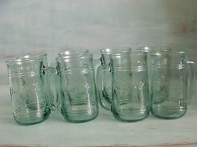 Coca~Cola / Coke | Eight  Green Tinted Glass Mugs With Handle | Drinking Glass