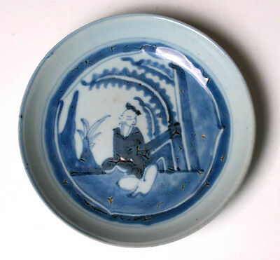 "Antique Chinese ""Transitional"" ware blue and white decorated plate"