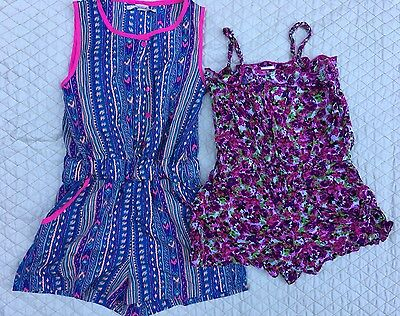 Set Of TWO Summer Rompers Girls Size 7/8 Floral Pink Purple Shorts Jumpsuit