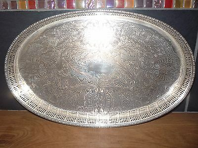 Viners Silver Gallery Tray Oval Alpha Chased Silver Plated