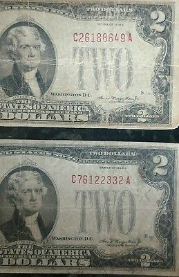 1928 Circulated Two Dolar $2 Red Seal Notes