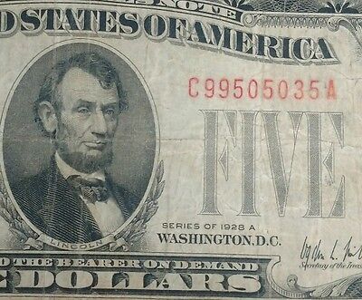 1928 Circulated Five Dollar $5 Red Seal Key Note