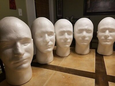 """2 - 11"""" MALE STYROFOAM MANNEQUIN display head forms mask wig hat glasses White"""