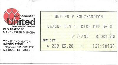 Manchester United V Southampton 1980/1981 Ticket
