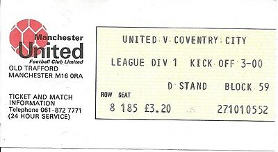 Manchester United V Coventry City 1980/1981 Ticket