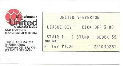 Manchester United V Everton 1980/1981 Ticket
