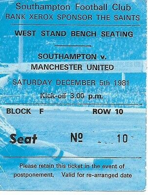 Southampton V Manchester United 1981/1982 Ticket