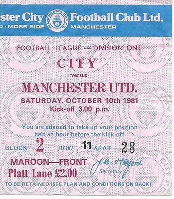Manchester City V Manchester United 1981/1982 Ticket