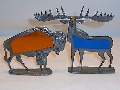 Metal stained Glass BULL MOOSE & BISON BUFFALO ONLY Vtg 1970s Sculpture Figures
