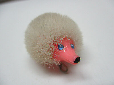 Breba Western Germany Hedgehog Pin Fuzzy Bristle Pink and White Vintage