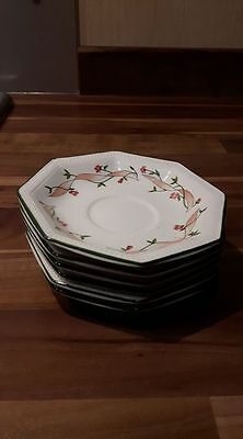 """6 x Johnson Brothers Eternal Beau 4.25"""" Coffee saucers  Made in England"""