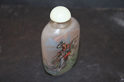Vintage Antique Reverse Painted Glass Snuff Bottle Lady Woman on Horse