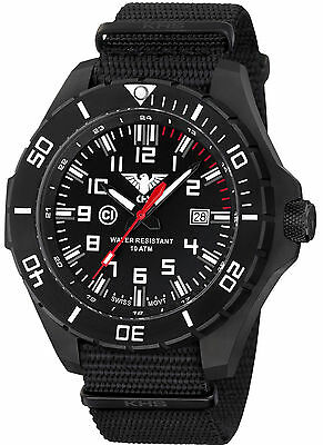 KHS Tactical Watches Military Watch C1-Light Date Black Nylon Band KHS.LANBS.NB