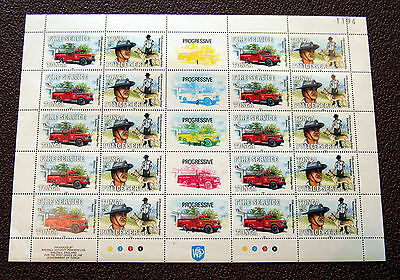 Tonga Progressive/Proof 20 Stamps Large Sheet, Fire Service & Police - Rare