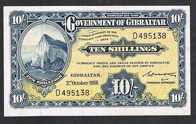 GIBRALTAR 10 SHILLINGS 1958 P 17, in a VF condition, scarce in high grades.