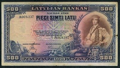 LATVIA Bank of Latvia Note 500 LATU 1929, P19a, a beautiful large note and very