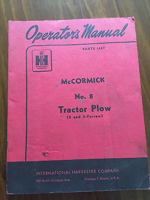 McCormick No. 8 Tractor Plow Operator's Manual - Farm Collectible