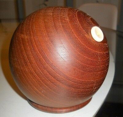"very rare KAY BOJESEN Teak String Holder Dispenser MCM Denmark Signed 4"" tall"