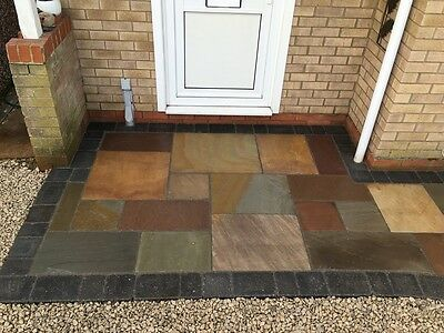Raj Green Multi Indian Sandstone Calibrated Patio Flags Garden Slabs 17.25m2