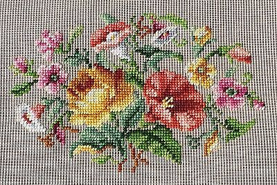2 SETS of 2 available BUCILLA NEEDLEPOINT HAND EMBROIDER FLOWER PREWORKED CANVAS