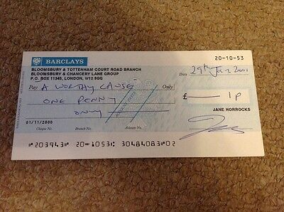 AB FAB   -  JANE HORROCKS - SIGNED  BANK CHEQUE  - 6 x 3 Inches   UACC