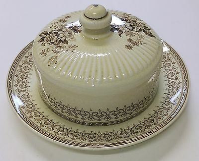 RIDGWAY: Uncommon Vintage Brown & White Round Butter Dish with Lid