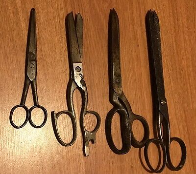 Job Lot Of Rare Antique Scissors Cast Iron/steel Made In Sheffield