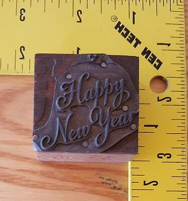Vintage Letterpress Wood Printing Block HAPPY NEW YEAR