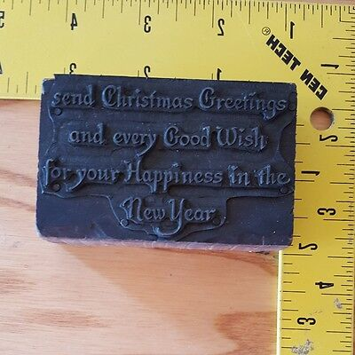 Vintage Letterpress Wood Printing Block SEND CHRISTMAS GREETINGS AND EVERY GOOD
