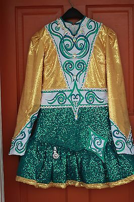 Green/Aqua/Gold Shauna Shiels Irish Dance Dress with Pink Underskirt/Petticoat