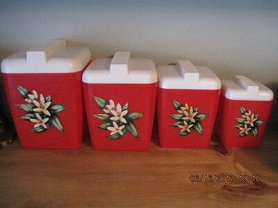 Mid Century Plastic Red & White Burrough's Mfg Co. Canister Set w/Flowers